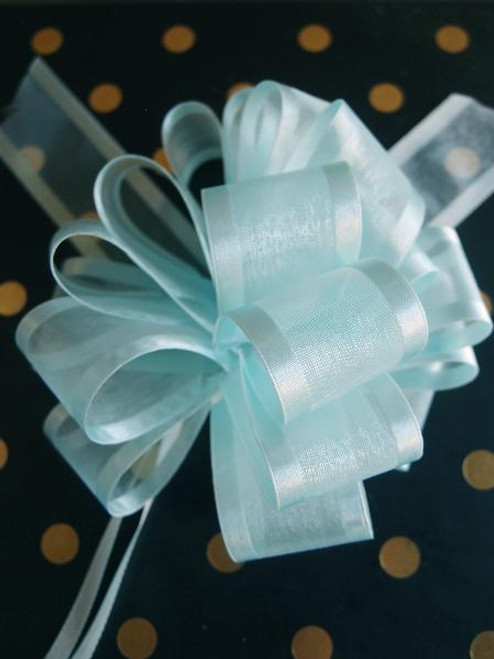Light Blue Sheer with Satin Edge Pull Bow, Wholesale Ribbon   Packaging Ribbon