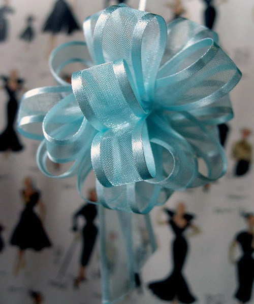 Light Blue Sheer with Satin Edge Pull Bow, Wholesale Pull Bows Wholesale Ribbon | Packaging Ribbon