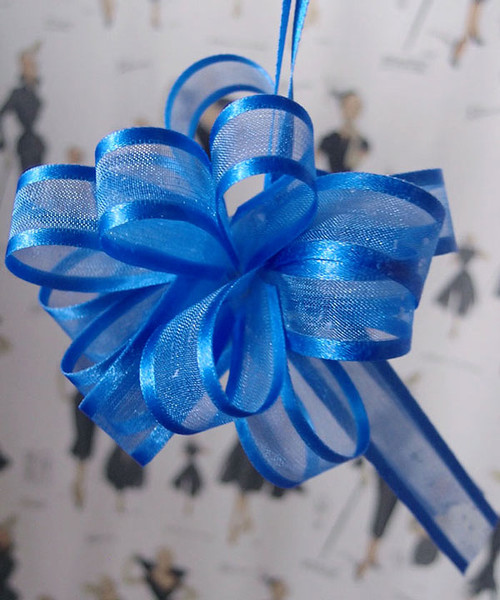 Wholesale Pull Bows, Royal Blue Sheer with Satin Edge Pull Bow | Packaging Decor