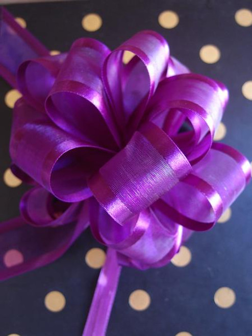 Purple Sheer w/Satin Edge Pull Bow (2 sizes)