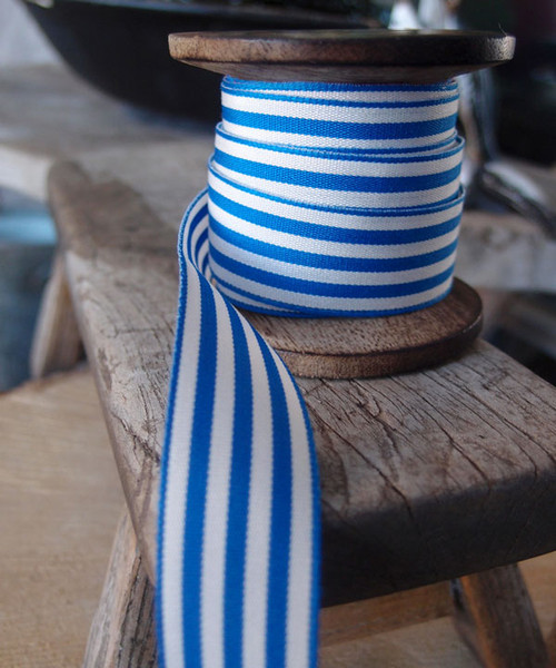 Navy Blue & Ivory Striped Ribbon (3 sizes)