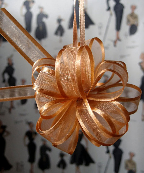 Gold Sheer with Satin Edge Pull Bow PR819-27, PR815-27 | Packaging Decor
