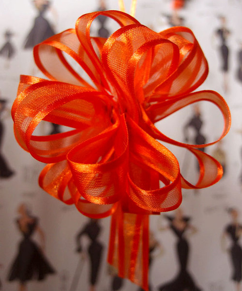 Wholesale Pull Bows, Orange Pull Bows, Sheer with Satin Edge Pull Bow | Packaging Decor