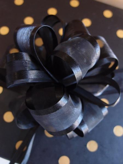 Black Sheer w/Satin Edge Pull Bow (2 sizes)