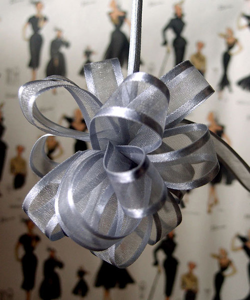 Wholesale Pull Bows, Silver Sheer with Satin Edge Pull Bow | Packaging Decor