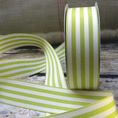 Pear Green & Ivory Striped Ribbon (3 sizes)