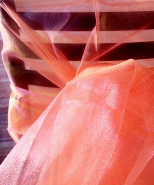 "Peach Two-tone Organza Sheet 54"" x 108"""
