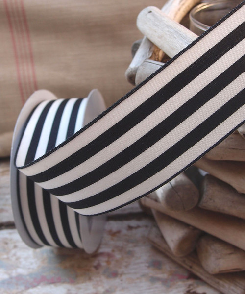 Black & Ivory Striped Ribbon (3 sizes)