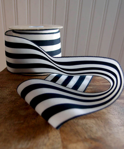 Black & Ivory Striped Ribbon (3 sizes)