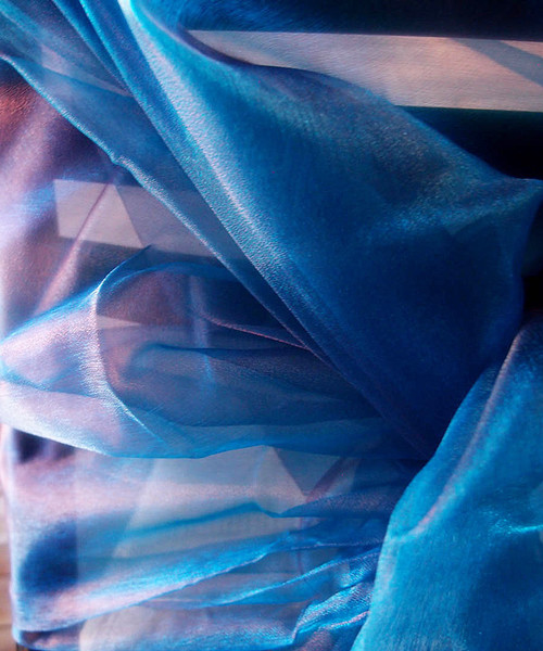 "Peacock Blue Two-tone Organza Sheet 54"" x 108"""