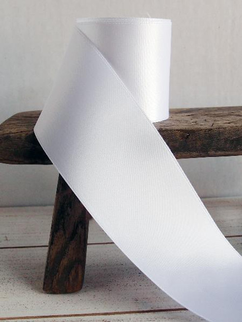 White Double Face Satin Ribbon (11 sizes)