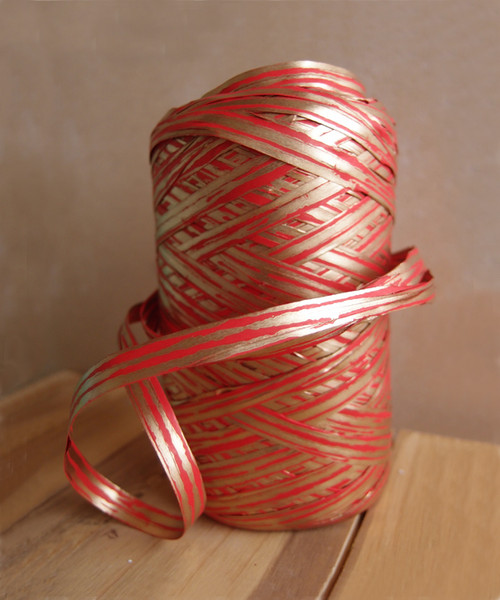 Upscale Raffia Red & Gold