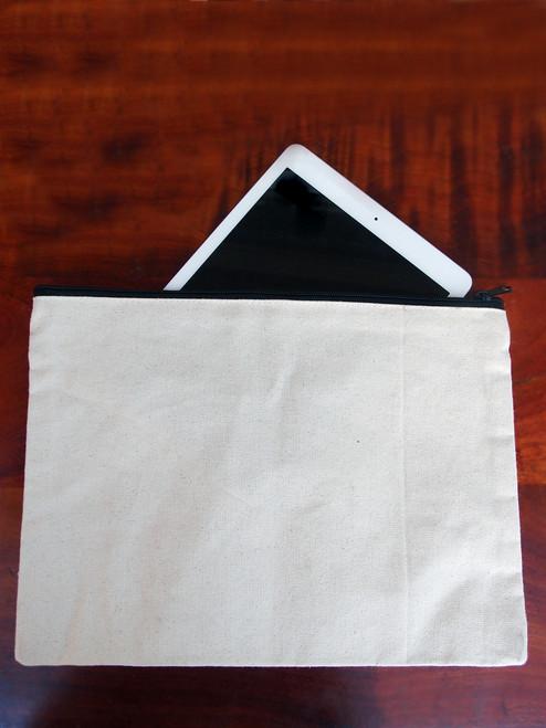 "Cotton Canvas Flat Zipper Pouch 13"" x 9.5"""