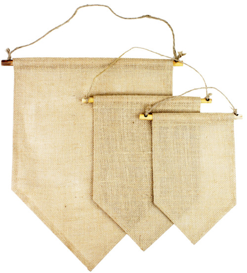 Burlap Hanging Wall Pennant Banners T165-21, T164-21, T163-21, Wholesale Blank Pennant Banners | Packaging Decor