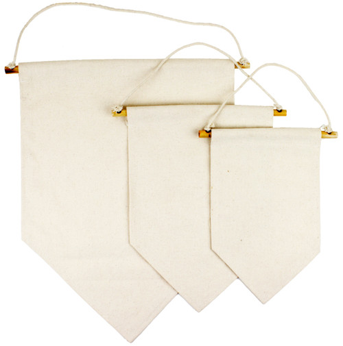 T165-62, T164-62, T163-62 blank cotton canvas wall hanging pennant banner