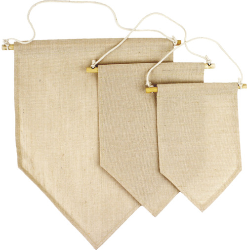 T165-71, T164-71, T163-71 blank jute blend wall hanging pennant banner