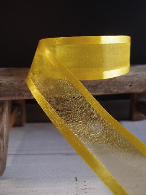 Bright Yellow Sheer Ribbon with Satin Edge (2 sizes)