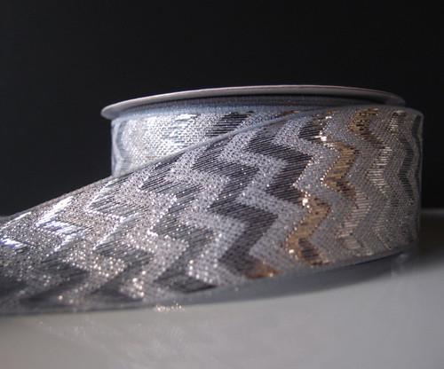 Silver Metallic Chevron Ribbon