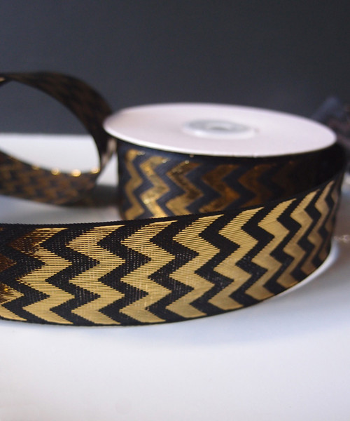 Gold Metallic Chevron on Black Ribbon, SKU 133-97 | Packaging Decor