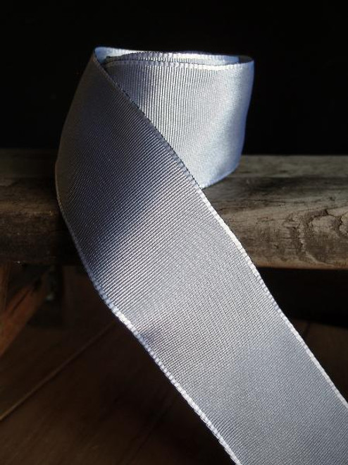 Silver Two-toned Grosgrain Ribbon with Wired Edge (1 size)