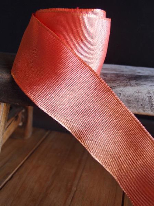 Peach Two-toned Grosgrain Ribbon with Wired Edge (1 size)