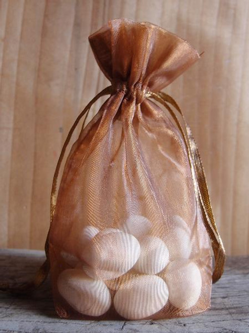 Copper Gusseted Sheer Bag with Satin Cord