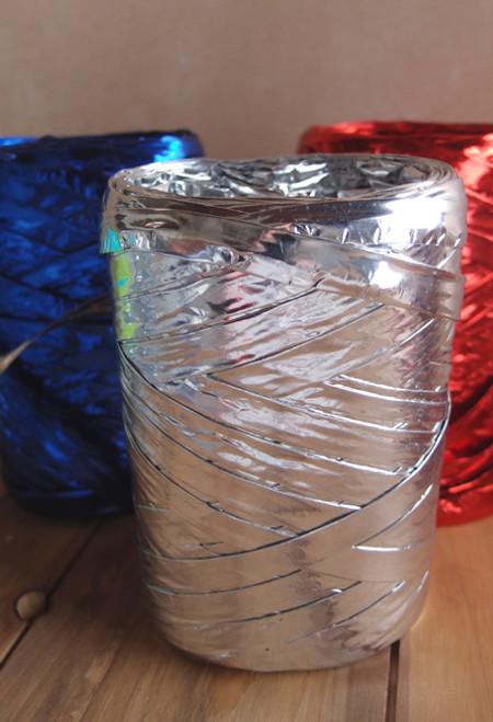 Metallic Silver Raffia