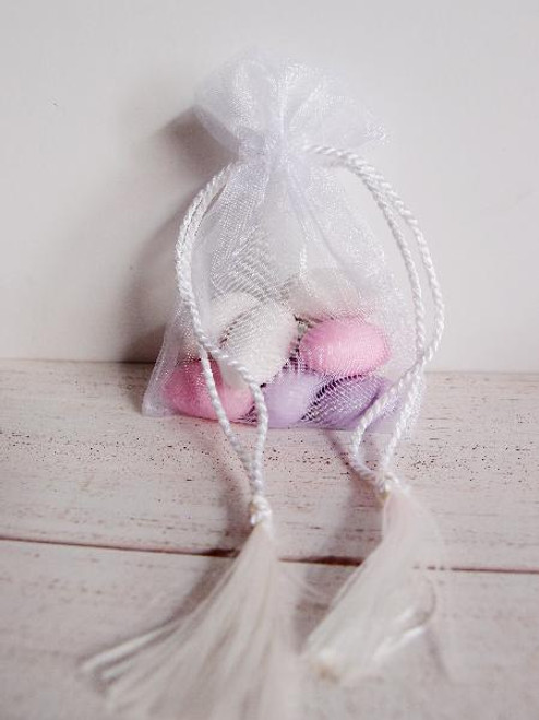 White Organza Bag with Tassel Drawstring (3 sizes)