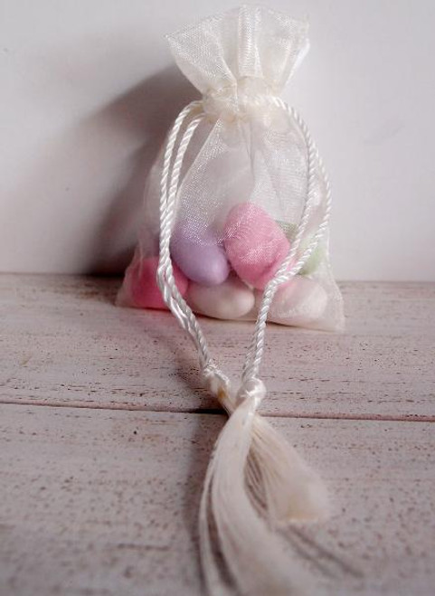 Ivory Organza Bag with Tassel Drawstring (3 sizes)