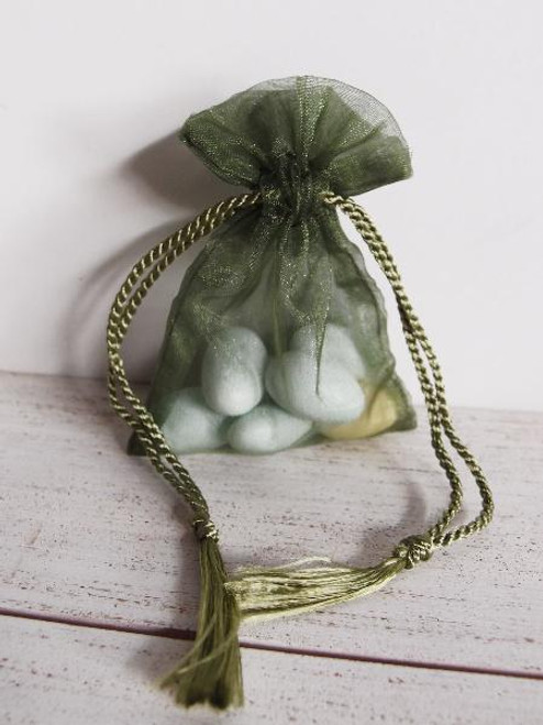 Moss Organza Bag with Tassel Drawstring (3 sizes)