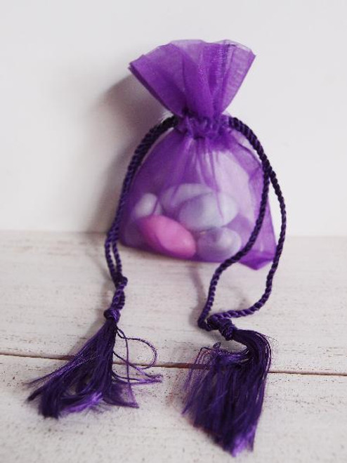 Purple Organza Bag with Tassel Drawstring (3 sizes)