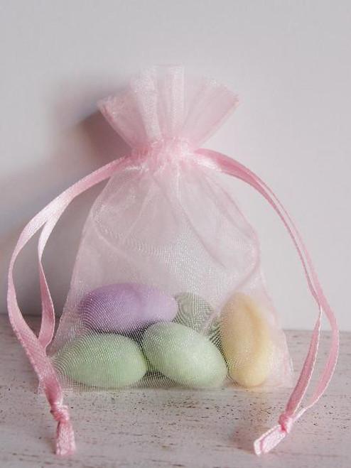 Pink Organza Bag with Ribbon String (11 sizes)