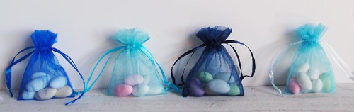 Light Blue Organza Bag with Ribbon String (11 sizes)