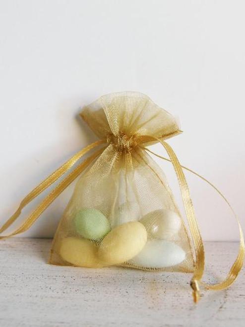 Gold Organza Bag with Ribbon String (11 sizes)