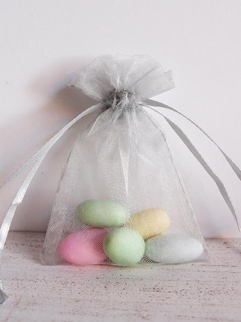 Silver Organza Bag with Ribbon String (11 sizes)