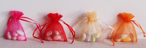 Peach Organza Bag with Ribbon String (4 sizes)
