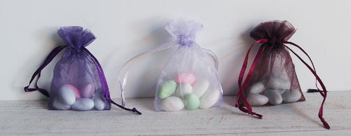 Plum Organza Bag with Ribbon String (4 sizes)