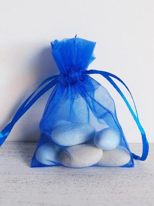 Royal Blue Organza Bag with Ribbon String (10 sizes)