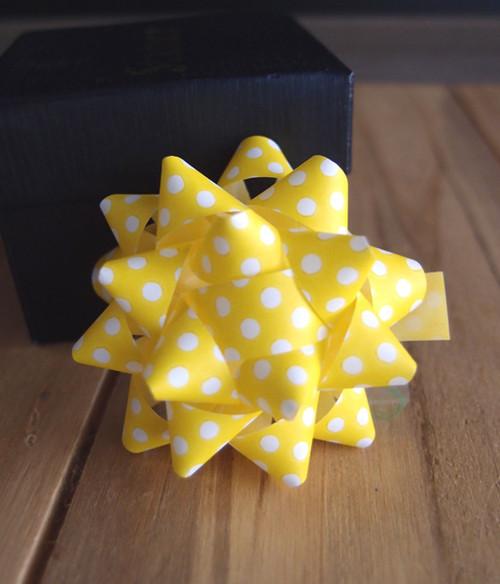 "Yellow  White Dots 2"" Star Bows"