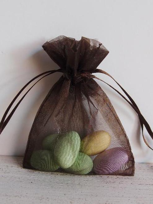 Dark Brown Organza Bag with Ribbon String (11 sizes)