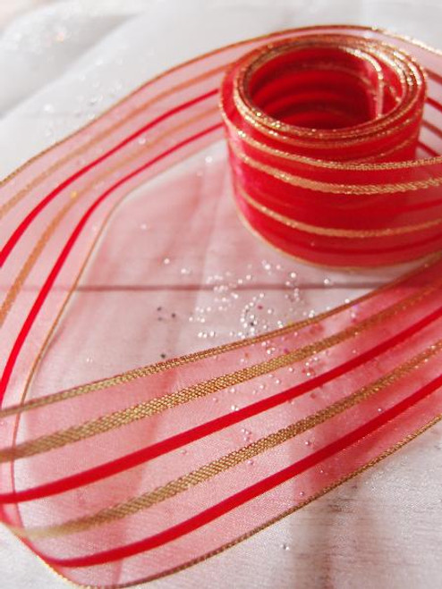 Red Sheer Ribbon w/ Metallic Gold Stripes