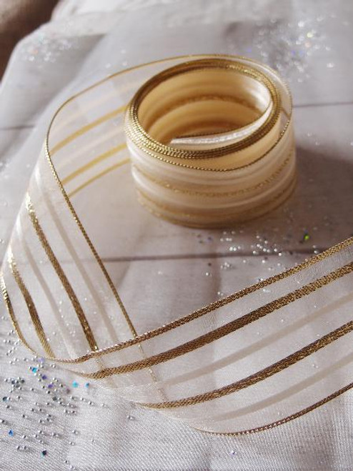 Ivory Sheer Ribbon w/ Metallic Gold Stripes