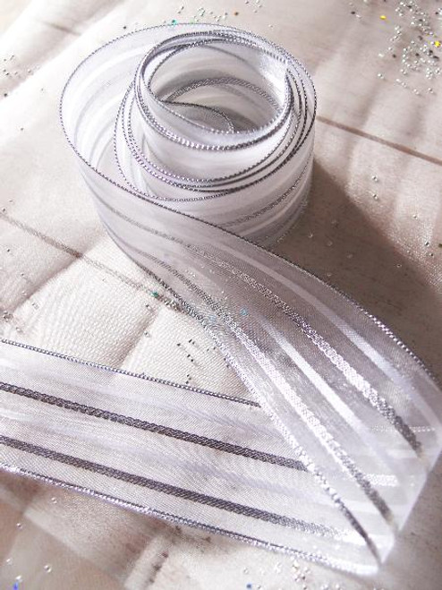 White Sheer Ribbon w/ Metallic Silver Stripes 450-40, Wholesale Ribbon | Packaging Decor