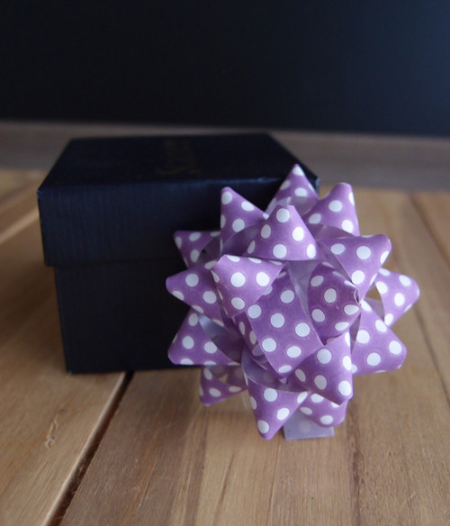 "Lavender with White Dots 2"" Star Bows"