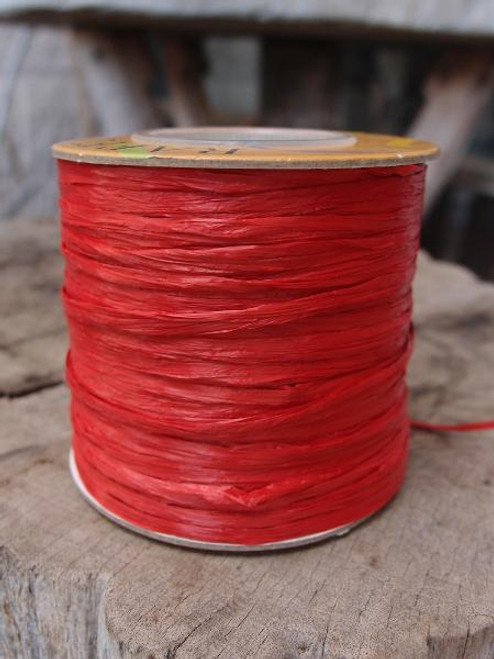 Red Matte Raffia Ribbon