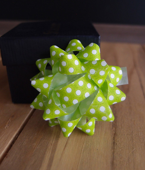 "Green & White Dots 2"" Star Bows"