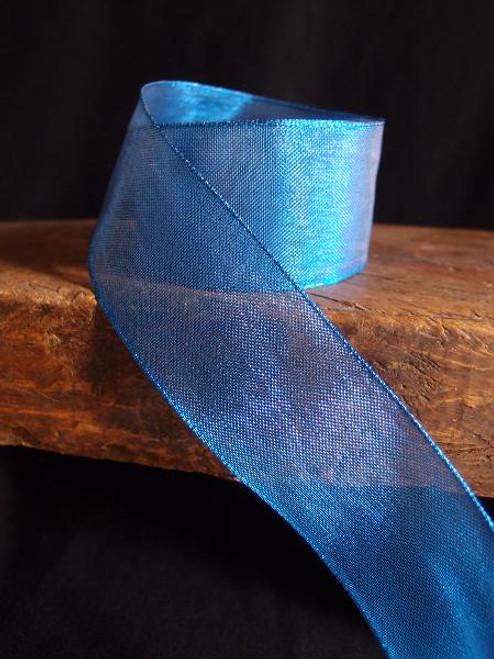 Royal Blue Metallic Sheer w/Wire Ribbon (2 sizes)