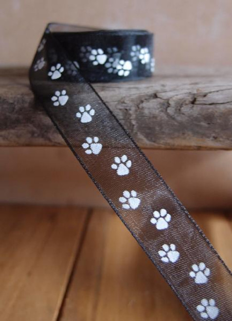 Black Sheer with White Paw Print Ribbon (3 sizes)