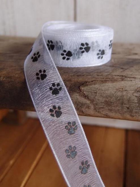 White Sheer with Black Paw Print Ribbon (3 sizes)