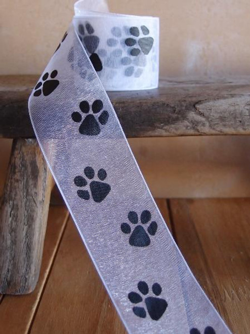White Sheer with Black Paw Print Ribbon (3 sizes)